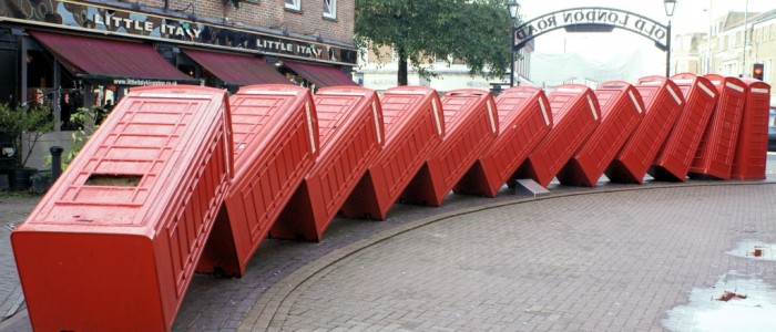 """Out of Order"" Tumbling Red Phone Boxes - Kingston upon Thames"